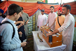 October 4, 2018 - Pakistan - PESHAWAR, PAKISTAN, OCT 03: Students take keen interest at stall during Peace Fair .Exhibition organized by International Relation Students Association held at Sheikh Taimur .Academic Block of Peshawar University on Wednesday, October 03, 2018. (Credit Image: © PPI via ZUMA Wire)