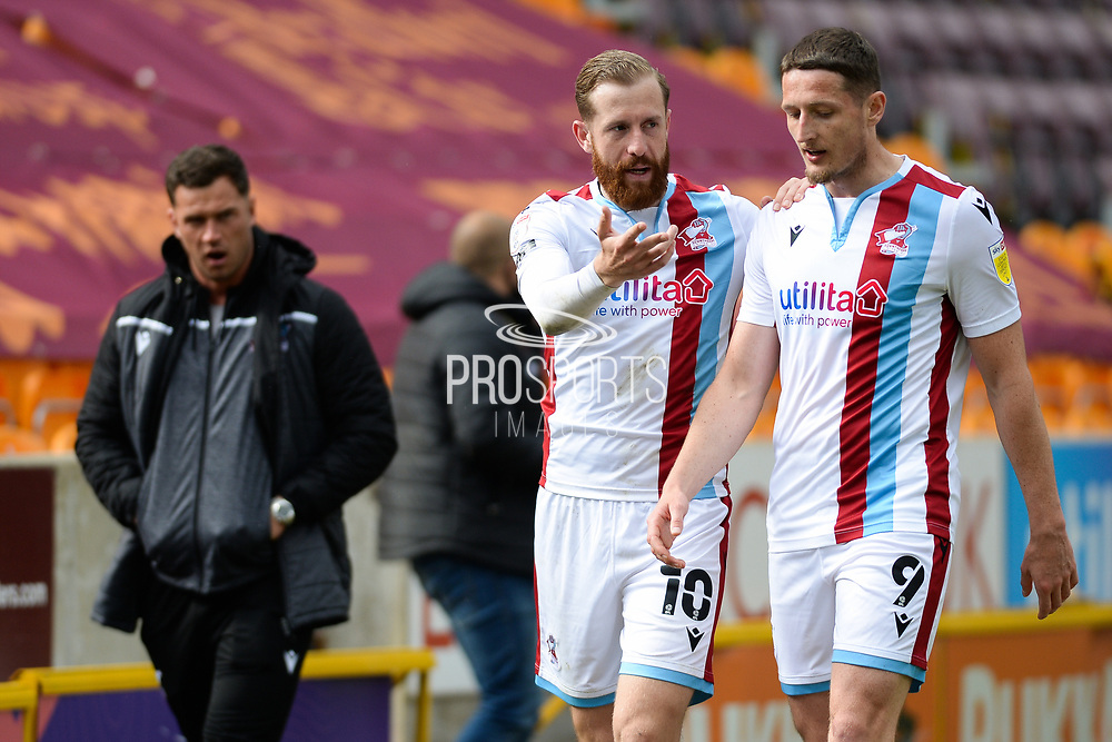 Scunthorpe United Kevin van Veen (10) talking to Scunthorpe United Ryan Loft (9) during the EFL Sky Bet League 2 match between Bradford City and Scunthorpe United at the Utilita Energy Stadium, Bradford, England on 1 May 2021.