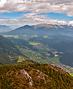 Stubai valley Landscape. Photographed at the Schlick 2000 ski centre, Stubai, Tyrol, Austria in September
