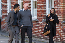 Three ex-DHL workers Donald Marklew, 40, his wife Amandip Marklew, 31, and Jeffrey Morton, 35, leave Uxbridge Magistrates Court after pleading guilty to stealing nearly 10,000 worth of perfume and jewellery from British Airways. Uxbridge, Middlesex, October 24 2018.