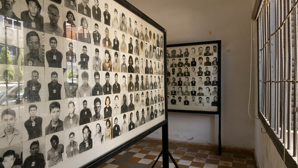 """Photographs of some of the executed at Pol Pot's secret prison, codenamed """"S-21"""" during his genocidal rule (1975-79). Between 1-2 million Cambodians were starved to death, tortured, or killed in this Khmer Rouge prison"""