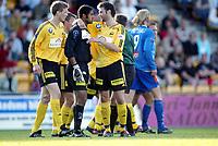 Fotball, 1. juni 2003, Tippeligaen 2003, Lillestrøm - Aalesund 1-1. Emille Baron, Frode Kippe, Rikhardur Dadason, Lillestrøm<br /> Foto: Anders Hoven, Digitalsport