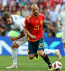 MOSCOW, July 1, 2018  David Silva (R) of Spain competes during the 2018 FIFA World Cup round of 16 match between Spain and Russia in Moscow, Russia, July 1, 2018. Russia won 5-4 (4-3 in penalty shootout) and advanced to the quarter-final. (Credit Image: © Yang Lei/Xinhua via ZUMA Wire)