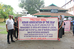 "June 15, 2018 - Guwahati, Assam, India - Member of ""Assam Association of Deaf"" taking out a rally demanding judicial inquiry of brutal killing of Luna Kalita and to stop all kind of murder and enmity. (Credit Image: © David Talukdar/Pacific Press via ZUMA Wire)"