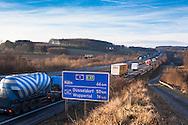 Europe, Germany, North Rhine-Westphalia, Ruhr area, Gevelsberg, the Autobahn A1 in direction to Cologne.<br /> <br /> Europa, Deutschland, Nordrhein-Westfalen, Ruhrgebiet, Gevelsberg, die Autobahn A1 in Fahrtrichtung Koeln.