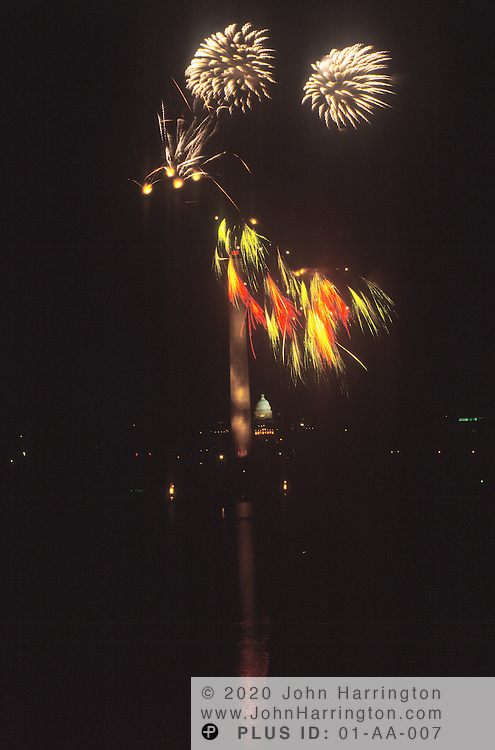 Fire works in Washington DC, over the mall.