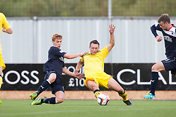 Falkirk's Jay Fulton and Queen of the South's Derek Young.<br /> Falkirk 2 v 1 Queen of the South, Scottish Championship 5/10/2013.<br /> ©Michael Schofield.