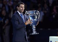 Tennis - 2017 Nitto ATP Finals at The O2 - Day One<br /> <br /> Group Boris Becker Singles: Roger Federer (Switzerland) vs. Jack Sock (USA)<br /> <br /> Rafael Nadal (Spain) holds aloft his ATP World number 1 trophy at the O2 Arena<br /> <br /> COLORSPORT/DANIEL BEARHAM