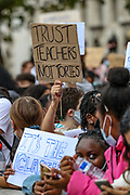 Students shouting and holding banners and placards, protest outside Downing Street, Whitehall in central London on Sunday, Aug 16, 2020. Students are reacting to the downgrading of A-Level results as a result of the Covid-19 pandemic. <br /> Thousands of pupils across England have expressed their disappointment at having their results downgraded after exams were cancelled due to coronavirus. A-levels results that were announced on 13 August. Some 40 per cent of students across England have received downgraded results. (VXP Photo/ Vudi Xhymshiti)