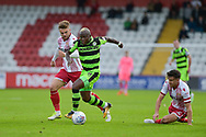 Forest Green Rovers Drissa Traor?(4) skips past a challenge  during the EFL Sky Bet League 2 match between Stevenage and Forest Green Rovers at the Lamex Stadium, Stevenage, England on 21 October 2017. Photo by Adam Rivers.