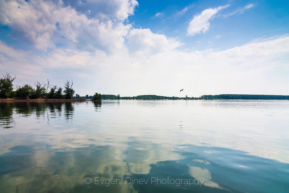 Danube river in spring midday.