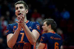 01-05-2019 NED: Abiant Lycurgus - Achterhoek Orion, Groningen<br /> Final Round 3 of 5 Eredivisie volleyball, The men's title fight is incredibly exciting. In an atmospheric Martini Plaza, Achterhoek Orion managed to strike tonight after two lost sets against reigning Dutch champion Abiant Lycurgus: 2-3 (25-17, 25-13, 23-25, 29-31, 11-15). That gives a 2-1 lead in the best-of-five series / Pim Kamps #7 of Orion