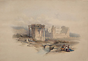 Circular Temple at Baalbec (Baalbek) Color lithograph by David Roberts (1796-1864). An engraving reprint by Louis Haghe was published in a the book 'The Holy Land, Syria, Idumea, Arabia, Egypt and Nubia. in 1855 by D. Appleton & Co., 346 & 348 Broadway in New York.