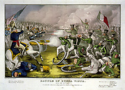 Mexican-American War 1846-1848: Battle of Buena Vista, also known as Battle of Angostura, 22-23 February 1847.  Mexicans under Santa Anna, in green, defeated by the American under General Zachary Taylor.  Hand-coloured engraving.