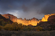 Sunrise, Towers of the Virgin, The West Temple,, Zion National Park, Utah, sandstone,