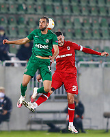 RAZGRAD, BULGARIA - OCTOBER 22: Higinio Marin of Ludogorets wins the clearing header against Jeremy Gelin of Antwerp during the UEFA Europa League Group J stage match between PFC Ludogorets Razgrad and Royal Antwerp at Ludogorets Arena on October 22, 2020 in Razgrad, Bulgaria. (Photo by Nikola Krstic/MB Media)