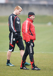 LIVERPOOL, ENGLAND - Friday, March 28, 2008: Liverpool's John Arne Riise and coach Pako De Miguel training at Melwood ahead of the Merseyside Derby match against Everton. (Photo by David Rawcliffe/Propaganda)