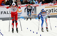 Langrenn<br /> Lahti Finland<br /> 13.03.2011<br /> Foto: Gepa/Digitalsport<br /> NORWAY ONLY<br /> <br /> FIS Weltcup, 1,4km Sprint der Damen, klassisch. <br /> <br /> Bild zeigt Astrid Uhrenholdt Jacobsen (NOR) und Arianna Follis (ITA)