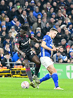 Football - 2019 / 2020 Emirates FA Cup - Fourth Round, Replay: Cardiff City vs. Reading<br /> <br /> Pelé of Reading & Will Vaulks of Cardiff, at the Cardiff City Stadium.<br /> <br /> COLORSPORT/WINSTON BYNORTH