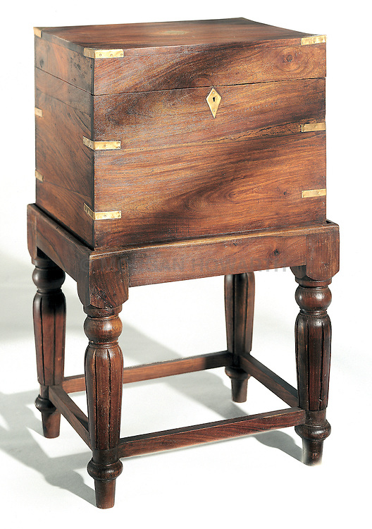 Antique wood map chest