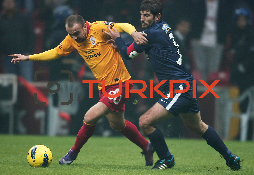 Galatasaray's Sercan Yildirim (L) during their Turkish Super League soccer match Galatasaray between IBBSpor at the TT Arena at Seyrantepe in Istanbul Turkey on Tuesday, 03 January 2012. Photo by TURKPIX