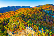 Aerial view of autumn (fall) leaf colors, White Mountains, New Hampshire, New England, USA