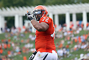 Virginia Cavaliers offensive tackle Oday Aboushi (72) looks for a play call during the second half of an NCAA football game against the Richmond Spiders Saturday September, 1, 2012 at Scott Stadium in Charlottesville, Va. Virginia defeated Richmond 43-19.