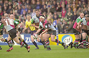Twickenham, Surrey. England, UK.,02.05.2003, Andre VOS, pass from Paul BURKE,  Zurich Premiership Rugby match, Harlequins v Northampton Saints, played at the Stoop Memorial Ground, [Mandatory Credit:Peter Spurrier/ Intersport Images]