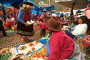 PERU, HIGHLANDS, MARKETS Pisac, Quechua produce market