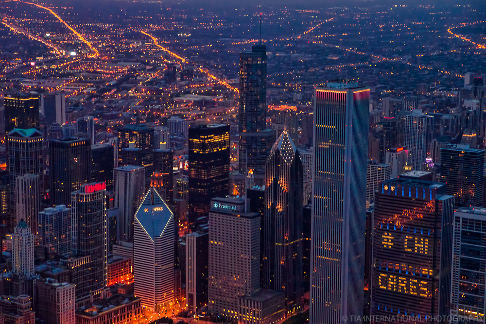 Downtown Chicago featuring Aon Center and Blue Cross-Blue Shield Of Illinois Tower (#CHI CARES)