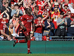 BRITAIN-LIVERPOOL-FOOTBALL-ENGLISH PREMIER LEAGUE-LIVERPOOL VS WOLVERHAMPTON WANDERERS..(190512) -- LIVERPOOL, May 12, 2019  Liverpool's Sadio Mane celebrates after scoring a goal during the final English Premier League match of the season between Liverpool and Wolverhampton Wanderers at Anfield in Liverpool, Britain on May 12, 2019. Liverpool won 2-0.  FOR EDITORIAL USE ONLY. NOT FOR SALE FOR MARKETING OR ADVERTISING CAMPAIGNS. NO USE WITH UNAUTHORIZED AUDIO, VIDEO, DATA, FIXTURE LISTS, CLUBLEAGUE LOGOS OR ''LIVE'' SERVICES. ONLINE IN-MATCH USE LIMITED TO 45 IMAGES, NO VIDEO EMULATION. NO USE IN BETTING, GAMES OR SINGLE CLUBLEAGUEPLAYER PUBLICATIONS. (Credit Image: © Xinhua via ZUMA Wire)