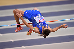 Italy's Gianmarco Tamberi competing in the High Jump competition during day two of the European Indoor Athletics Championships at the Emirates Arena, Glasgow.