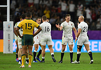 Rugby Union - 2019 Rugby World Cup - Quarter-Final: England vs. Australia<br /> <br /> England's Owen Farrell with Willi Heinz at the final whistle, at Oita Stadium, Oita Prefecture.<br /> <br /> COLORSPORT/ASHLEY WESTERN