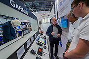 Garmin navigation stand - The London Boat Show opens at the Excel centre. London 06 Jan 2017