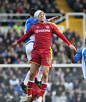 Photo: Mark Stephenson.<br />Birmingham City v Reading. The FA Cup. 27/01/2007.<br />Reading's James Harper wins the header