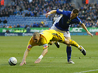 Photo: Steve Bond/Richard Lane Photography. Leicester City v Sheffield Wednesday. Coca Cola Championship. 12/12/2009. Matty Fryatt (R) and Darren Purse (L) tangle