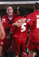Photo: Dave Linney.<br />Hereford United v Walsall. Coca Cola League 2. 18/11/2006. Walsall' Daniel Fox (L) celebrates with goalscorer Chris Westwood.