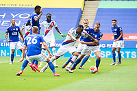 LEICESTER, ENGLAND - JULY 04: Jordan Ayew of Crystal Palace tries to find a way past Jonny Evans of Leicester City during the Premier League match between Leicester City and Crystal Palace at The King Power Stadium on July 4, 2020 in Leicester, United Kingdom. Football Stadiums around Europe remain empty due to the Coronavirus Pandemic as Government social distancing laws prohibit fans inside venues resulting in all fixtures being played behind closed doors. (Photo by MB Media)