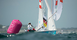 03.08.2012, Bucht von Weymouth, GBR, Olympia 2012, Segeln, im Bild .Schimak Eva-Maria, Vadlau Lara, (AUT, 470 Women) // during Sailing, at the 2012 Summer Olympics at Bay of Weymouth, United Kingdom on 2012/08/03. EXPA Pictures © 2012, PhotoCredit: EXPA/ Juerg Kaufmann ***** ATTENTION for AUT, CRO, GER, FIN, NOR, NED, POL, SLO and SWE ONLY!