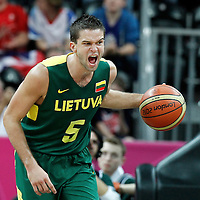 02 August 2012: Lithuania Mantas Kalnietis yells while bringing the ball upcourt during 82-74 Team France victory over Team Lithuania, during the men's basketball preliminary, at the Basketball Arena, in London, Great Britain.