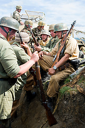 Reenactors portraying German paratroopers (Fallschirmjäger) 1 fallschirmjäger Division, 3 fallschirmjäger Regiment, Gothic line Italy wearing tropical kit at the Yorkshire War Experience <br />