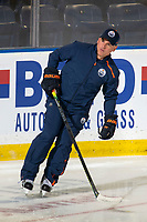 KELOWNA, BC - SEPTEMBER 23: Edmonton Oilers' assistant coach Brian Wiseman skates during practice at Prospera Place on September 23, 2019 in Kelowna, Canada. (Photo by Marissa Baecker/Shoot the Breeze)
