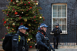 London, UK. 2 December, 2019. Armed police officers pass in front of a Christmas tree from Dartmoor outside 10 Downing Street. It was supplied by family business Dartmoor Christmas Trees after they won the Champion Grower prize in an annual competition.