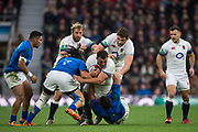 Twickenham, Surrey. UK.  Ellis GENGE, with the ball, drives on throught the tackle, during the England vs Samoa, Autumn International. Old Mutual Wealth Series. RFU Stadium, Twickenham. Surrey, England.<br /> <br /> Saturday  25.11.17  <br /> <br /> [Mandatory Credit Peter SPURRIER/Intersport Images]