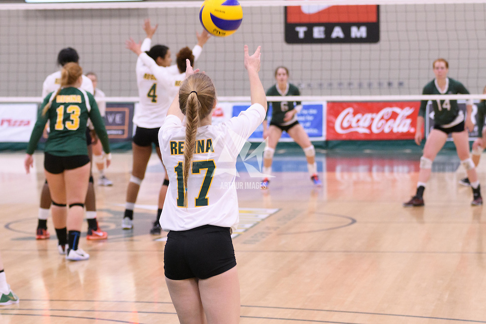 1st year setter Kirstin Greve (17) of the Regina Cougars in action during Women's Volleyball home game on November 18 at Centre for Kinesiology, Health and Sport. Credit: /Arthur Images