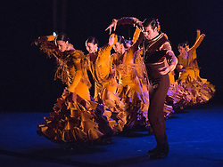 """© Licensed to London News Pictures. 26/02/2015. London, England. Photocall for Ballet Nacional de España. The comapny performs """"Feria"""", the opening sequence of the piece """"Suite Sevilla"""", choreographed by Antonio Najarro, artistic director of the Ballet Nacional de España, from 26 to 28 February 2015 at Sadler's Wells theatre. Feria is performed by 20 dancers and 1 singer (Saray Muñoz). The performance is part of the Flamenco Festival London 2015 which runs until 1 March. Photo credit: Bettina Strenske/LNP"""