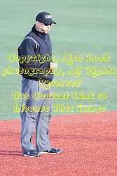 21 April 2015:  Umpire Daniel Jimenez during an NCAA Inter-Division Baseball game between the Illinois Wesleyan Titans and the Illinois State Redbirds in Duffy Bass Field, Normal IL