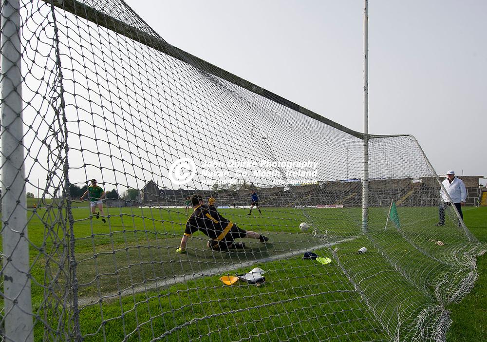 20-04-19. Curraha v Na Fianna - Meath SFC Group C Round 2 at Pairc Tailteann, Navan.<br /> Curraha Penalty.<br /> Photo: John Quirke / www.quirke.ie<br /> ©John Quirke Photography, Unit 17, Blackcastle Shopping Cte. Navan. Co. Meath. 046-9079044 / 087-2579454.