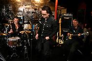 Ireland. Dublin. U2 rehearsing in their studios in Dublin. Left to right: The Edge, Larry Mullen, Bono and Adam Clayton.