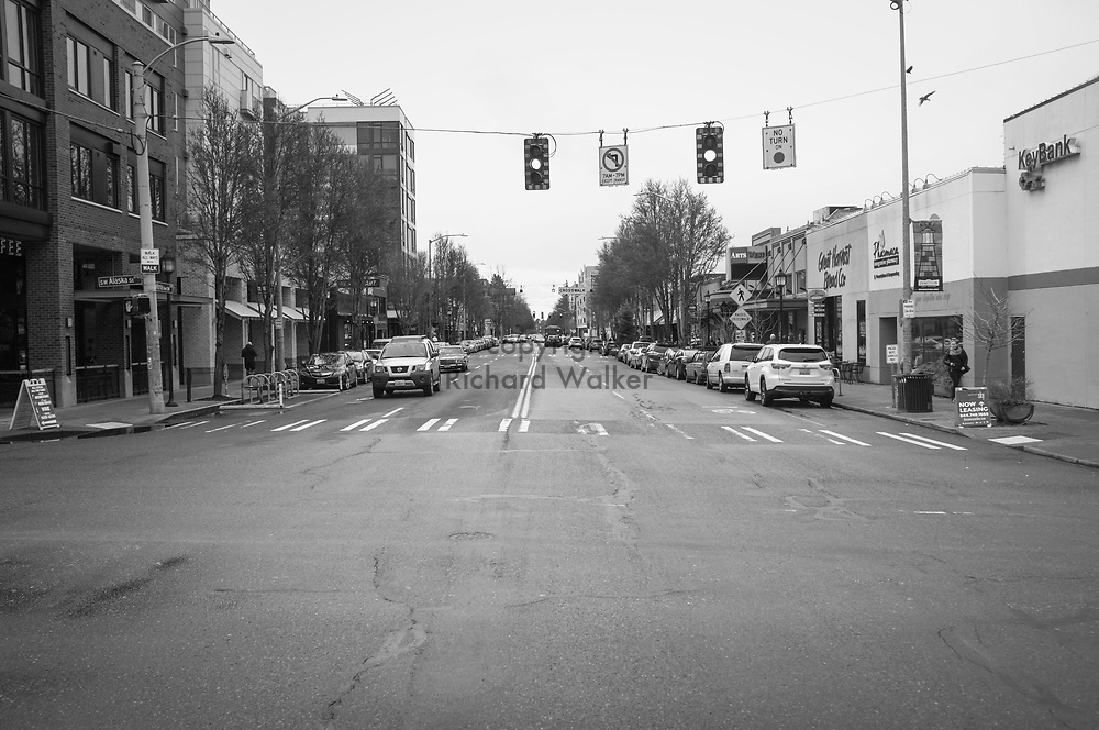 2017 MARCH 05 - Intersection of Alaska Street and California Ave SW in the Alaska Junction, West Seattle, WA, USA. By Richard Walker